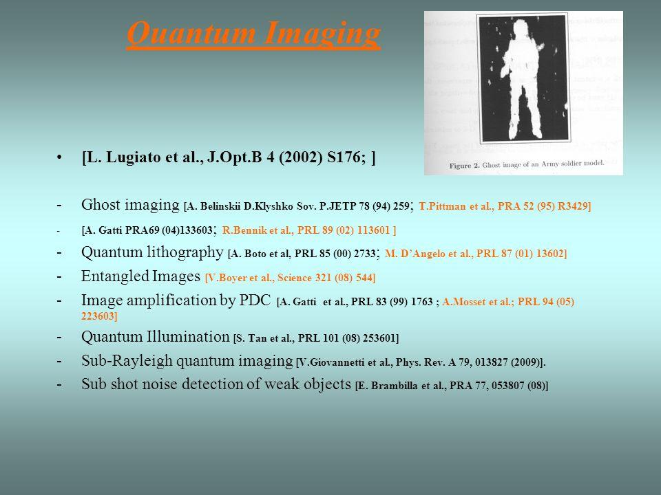 Quantum Imaging [L. Lugiato et al., J.Opt.B 4 (2002) S176; ]